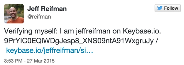 Keybase Verification Tweet for Jeff Reifman reifman twitter account