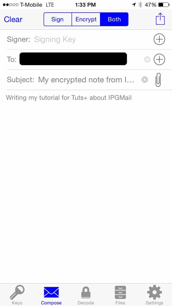 iPGMail Composing an Encrypted Message