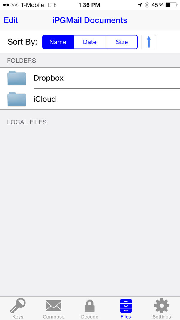 iPGMail Managing encryption with files on the iPhone