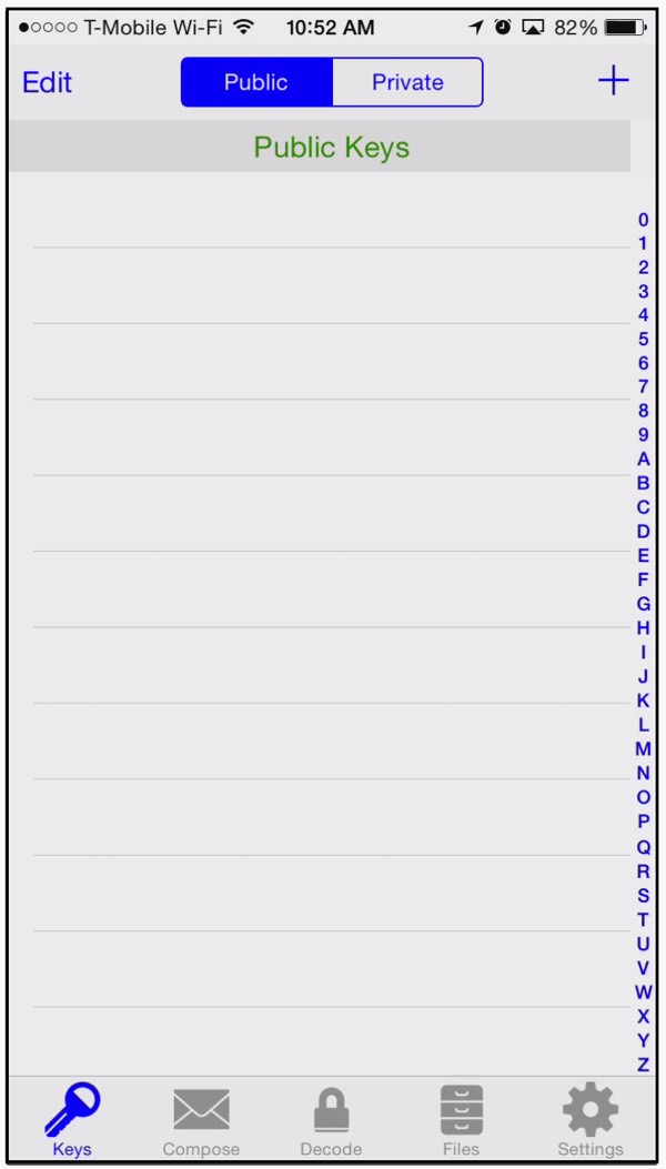 iPGMail List of Public Keys