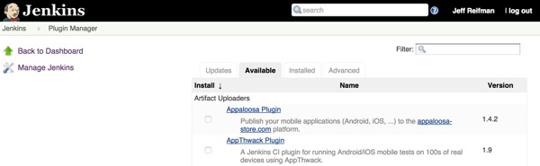 Jenkins Manage Plugins Available Tab
