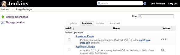 Jenkins Manage Plugins Available Tab