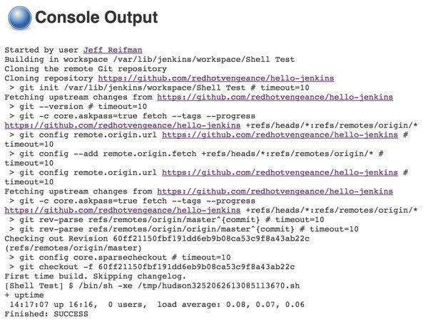 Jenkins Project Build Console Output