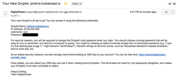Jenkins Digital Ocean Droplet Creation Email