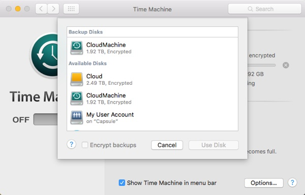 Sync Time Machine Drive Selection