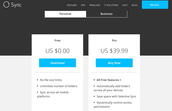 Sync Personal Pricing Plans