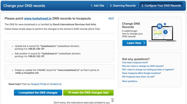 Incapsulacom Instructions for changing your dns records