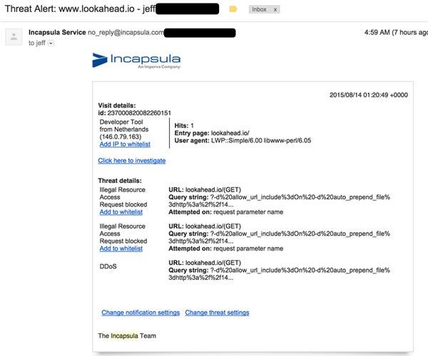Incapsulacom Email notification of threat alerts