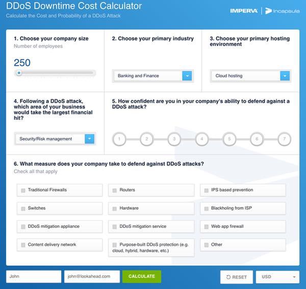 Incapsula DDoS Downtime Cost Calculator