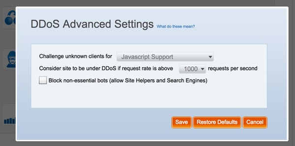 Incapsula DDoS Advanced Settings