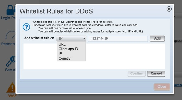 Incapsula Whitelist Rules for DDoS