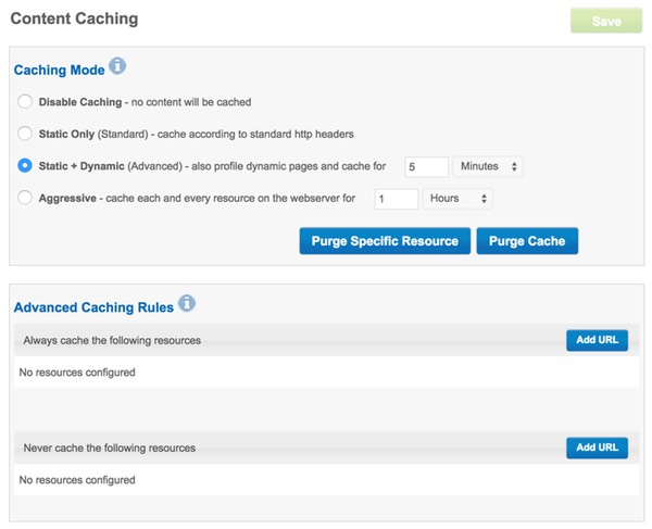 Incapsula Caching Settings