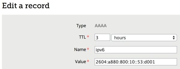 DNS AAAA Record Example