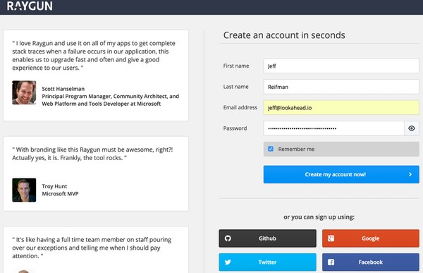 Raygun Account Sign Up