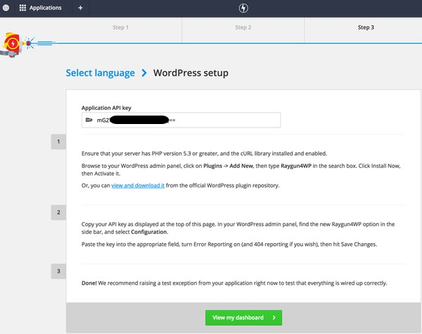 The Raygun WordPress Setup
