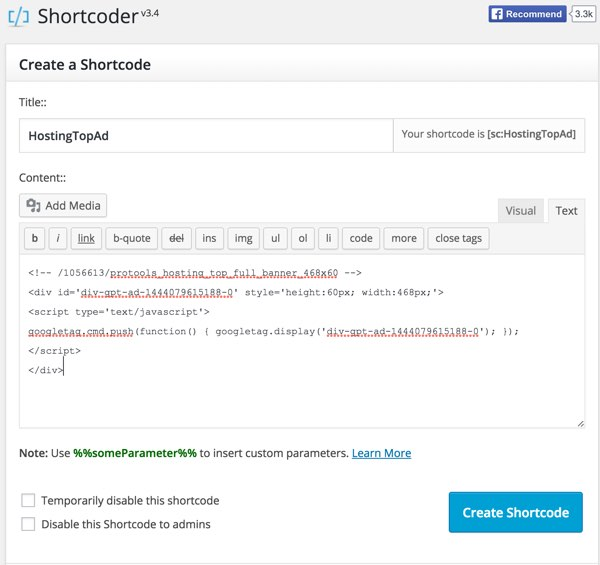 Google DFP Using WordPress Shortcode to Simplify Ad Integration