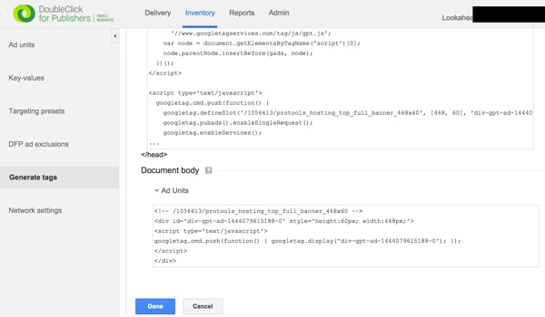 Google DFP Generate Ad Unit HTML and Javascript Code