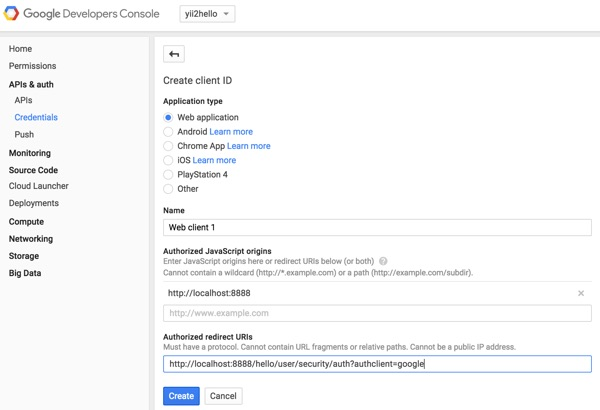 Programming Yii2 Google Developers Console Project Settings