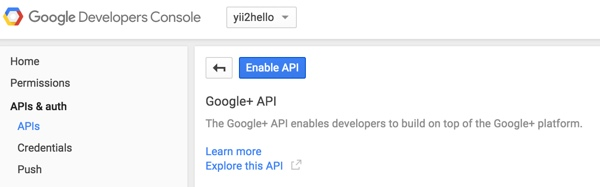 Programming Yii2 Google Developers Console Enable API