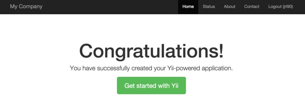 Yii2 User Hello App Signed In