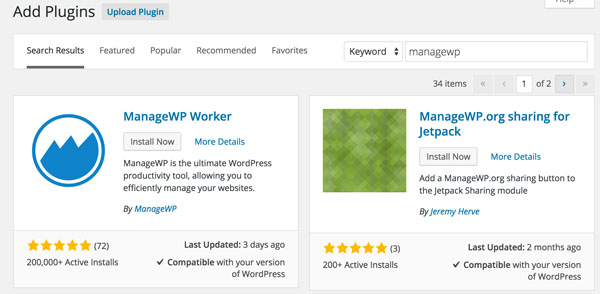 ManageWP ManageWP Worker Plugin Install
