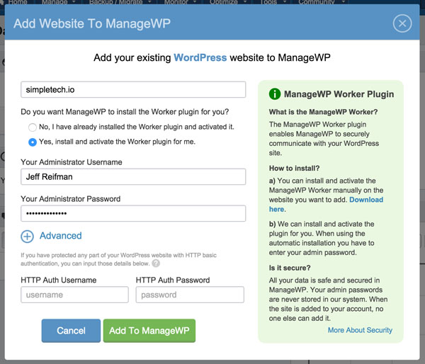 ManageWP Add Websites Directly