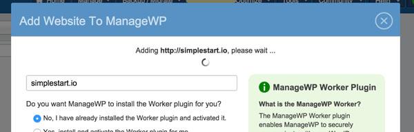 ManageWP Adding Website