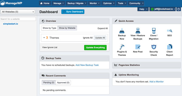 ManageWP The Dashboard with Sites