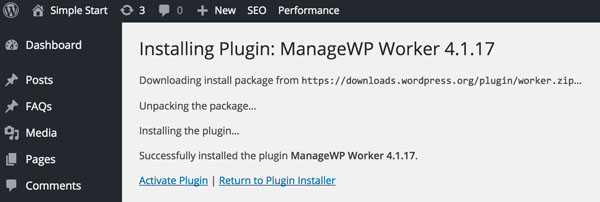 ManageWP ManageWP Worker Plugin Install Activation