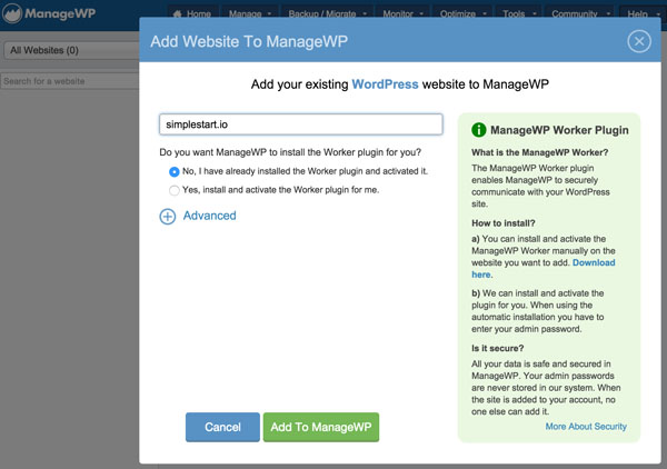 ManageWP Add your Website to the Dashboard