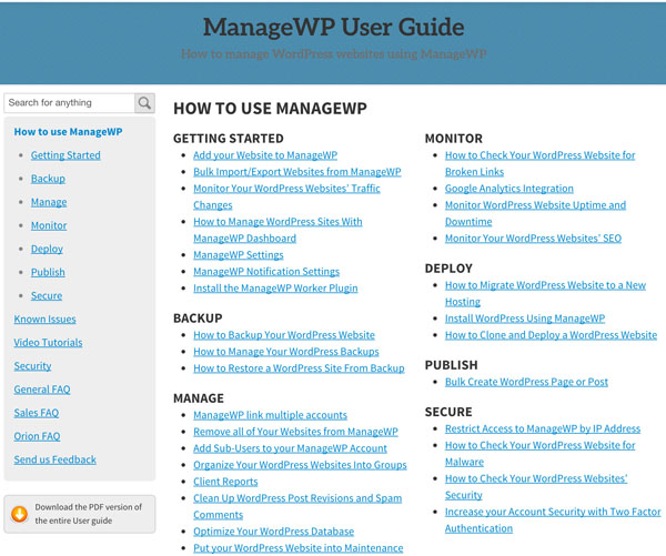 ManageWP User Guide
