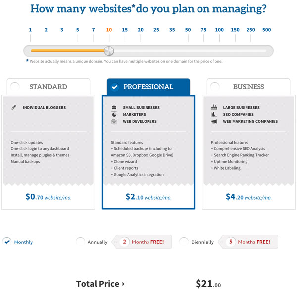 ManageWP Pricing and Plans