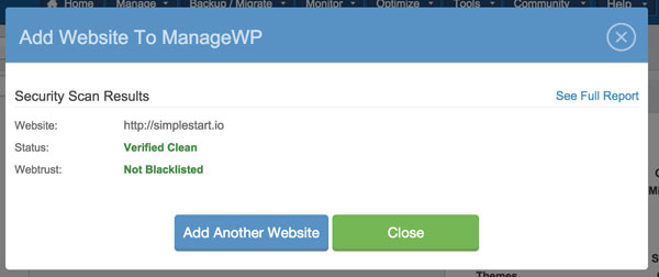 ManageWP Site Added