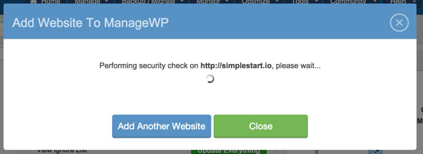 ManageWP Run Your Security Check in progress