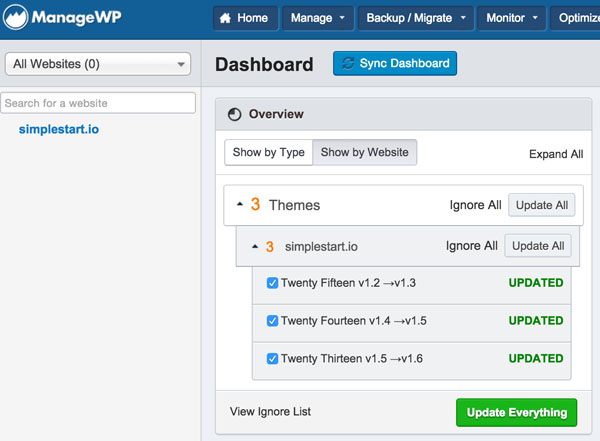 ManageWP Updating Themes