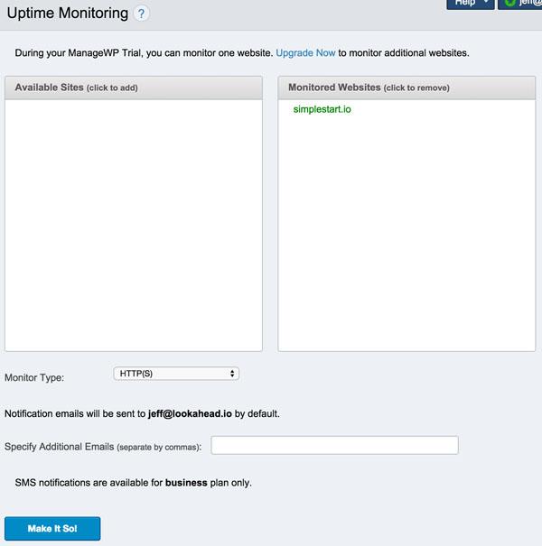 ManageWP Uptime Monitoring