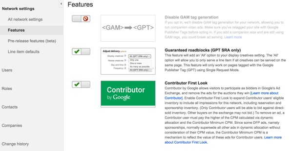 Google DFP Bad UX Enable Features