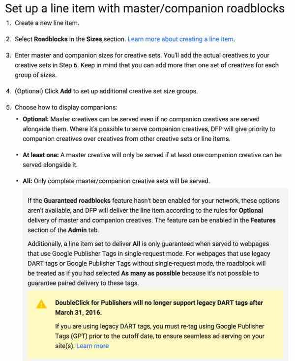 Google DFP Bad UX New Creative Set Help for Roadblocks