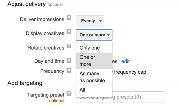 Google DFP Adjust Delivery to Only One Creative