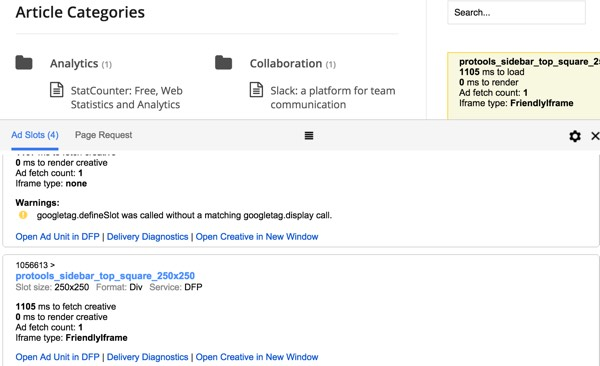 Google DFP Slide down to our sidebar 250 x 250 ad