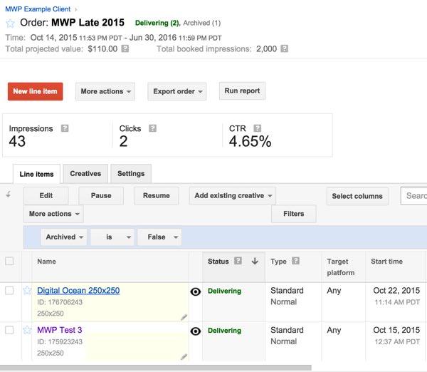 Google DFP Delivering