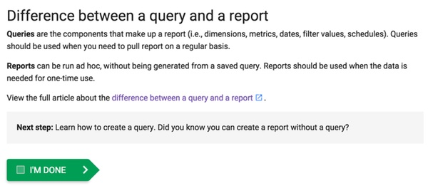 Google DFP Difference between a query and a report