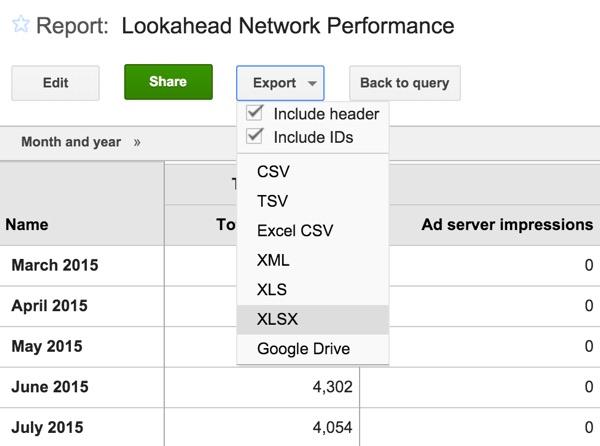 Google DFP Export Report File Formats