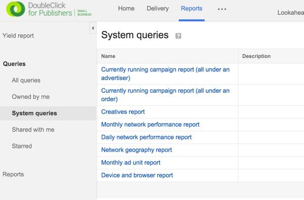 Google DFP System Queries