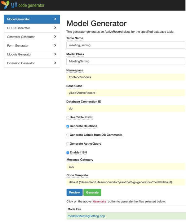 Customizing Meeting View - Yiis Gii Model Generator for Meeting Setting