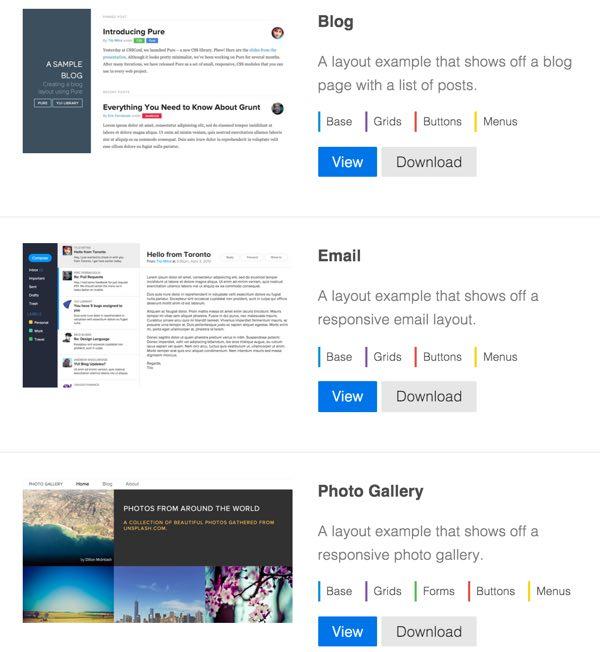 PureCSS Sample layouts