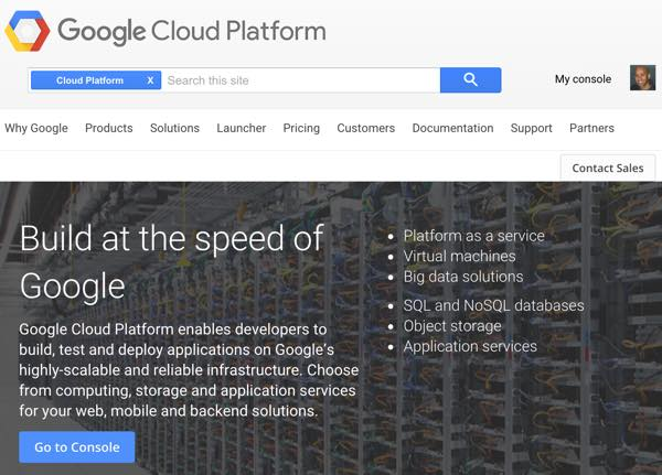 Amazon AWS Alternatives - Google Cloud Home Page