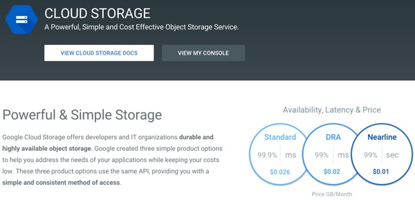 Amazon AWS Alternatives - Google Cloud Storage
