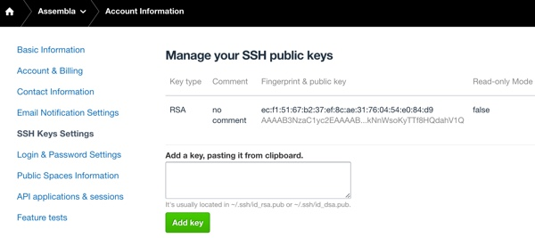 Assembla Manage SSH Keys