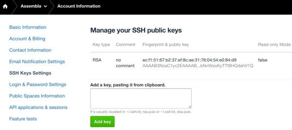 Assembla Manage SSH Keys